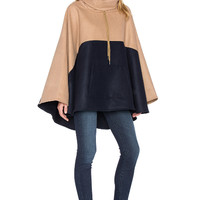 Block Woolen Cloak Coat With High Collar