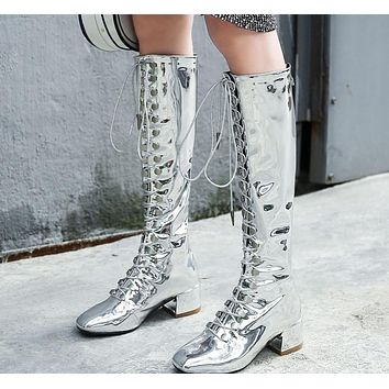 Women Silver/Black Patent Leather Lace Up Over The Knee Boots