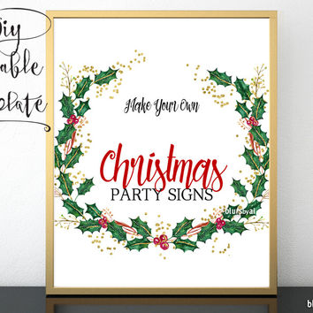 """8x10"""" - DIY Printable sign template for Word. Make your own Christmas party signs, holly wreath design"""