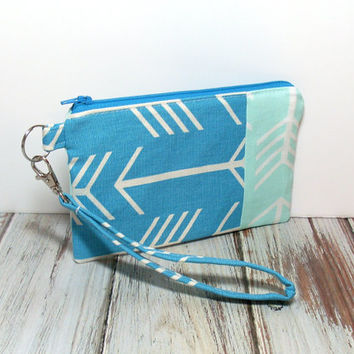 Turquoise Wristlet, Mint and Turquoise, Arrow Phone Wristlet, School Wristlet, Wristlet Wallet, Cell Phone Wristlet, Wristlet Purse, Clutch