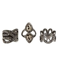 Stackable Hematite Statement Rings - 3 Pack