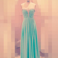 Beads Ruffled Strapless Empired Long Bridesmaid Celebrity Dress,Floor Length Chiffon Formal Evening Party Prom Dress New Homecoming Dress
