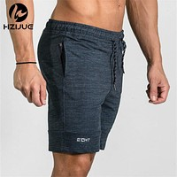 Summer Men's Gyms Shorts Bodybuilding Clothing Men Fitness Zipper Patchwork Workout Cotton Shorts