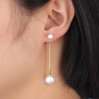 Fashion  Long Earrings Imitation Pearls with Gold-color