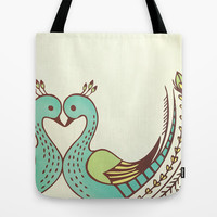 Peacock Love Tote Bag by ItsJessica