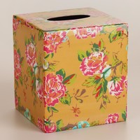 Yellow Floral Tissue Box Cover - World Market