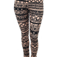 Plus Size Tribal Print Taupe Leggings, Plus Size Clothing, Club Wear, Dresses, Tops, Sexy Trendy Plus Size Women Clothes