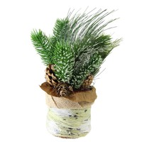 """10"""" Iced Pine Needles and Pine Cones in Round Burlap Basket Christmas Decoration"""