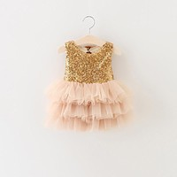 Baby Girls Gold Sequins Tutu  Party Dress