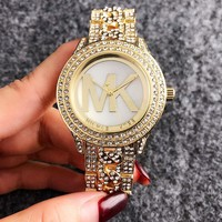 MICHAEL KORS New Fashion Diamond Round Edge And Diamond Watchband Couples Watch Golden