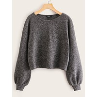 SHEIN Solid Rib Knit Sweater