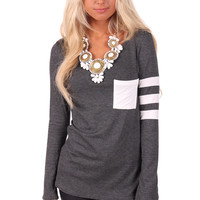 Charcoal Top with Striped Sleeve Detail