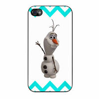 Olaf Disney Frozen Blue Chevron iPhone 4 Case