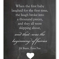 """Nursery Wall Art Peter Pan Quote Chalkboard Print 8x10"""", Perfect Baby Shower Gift or New Baby Gift"""