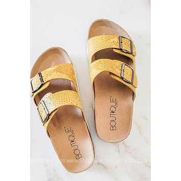 Beach Babe Double Strap Sandals | Yellow Snake