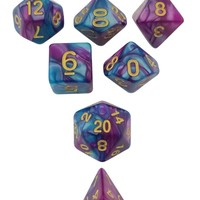 Old Magic - Rich Purple Blue Swirl Set of 7 Polyhedral RPG Dice