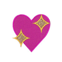 Sparkling Heart Emoji Embroidered Iron On Patch - FREE SHIPPING