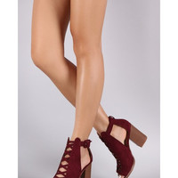 Suede Crisscross Cutout Chunky Heeled Booties - In Navy, Black, or Wine