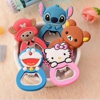 Fashion Cartoon Cute Doraemon Hello Kitty Stitch Bear Fridge Magnets With Opener Friend Business Souvenir Magnetic Sticker  TZ06