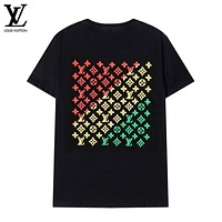 Louis Vuitton LV New Style Short Sleeve Top LOGO Foam Rainbow Letter Print Fashionable Men's and Women's T-shirt