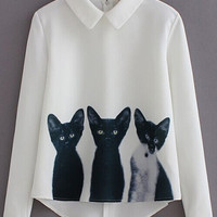 White Cat Print Long Sleeve Blouse
