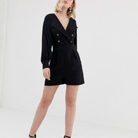 ASOS DESIGN tux wrap romper with button detail | ASOS