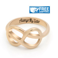 """Sister Gift - Delicate Infinity Ring Engraved on Inside with """"Always My Sister"""", Sizes 6 to 9"""
