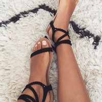 Braid Tie Flats - Black - Shoes by Sabo Skirt