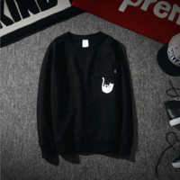 Tide brand new RIPNDIP cheap cat round neck autumn and winter thin men and women cotton terry sweater Black
