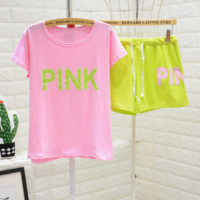 Victoria PINK Summer fashion new pink top and fluorescent green short sleeve letter pajamas top and shorts casual suit