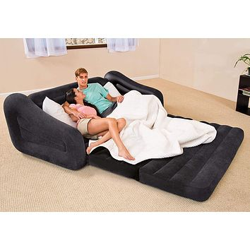 Inflatable Portable Pull Out Sofa Sleeper Queen Air Mattress Bed w Cup Holders