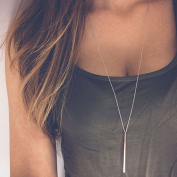 2016 Silver Chain lariat Long Bar Necklaces For Women Simple Necklace Pendants Collier Femme Colares mujer Bijoux Jewelry