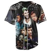 One Direction Black Button Up Baseball Jersey