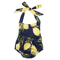 2017 Newborn Baby Girl Romper Summer Sleeveless Backless Halter Sunsuit Pear Print Bebes Outfits Clothes