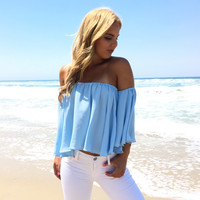 Sea La Vie Off Shoulder Blouse In Blue