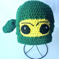 Lego Ninjago Crochet Hat, Ninjago Hat, Green Ninjago Beanie, Boys Ninja hat, Crochet baby outfits for pictures, Cake Smash Birthday Gift