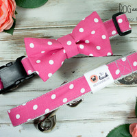 Hot Pink Polka Dots Dog Collar With Removable Bow Tie