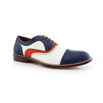 Men's M-19355 Classic Tri Color Perforated Lace Up Dress Oxford Shoes