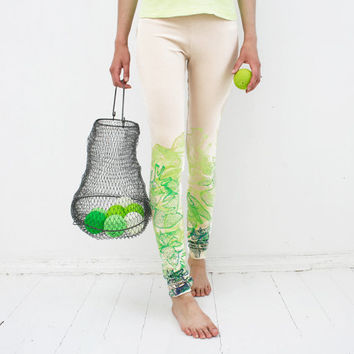 Live green - beige leggings with lime green print