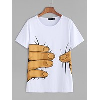 Fashion Casual Finger Pattern Print Loose Short Sleeve Women's T-shirt Tops