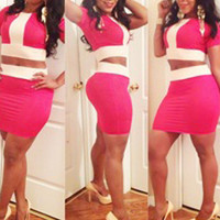 Pink And White Short Sleeve Cropped Top And High Waisted Mini Skirt