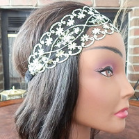 Lace Headband, Black and Gold, Lace head wrap, Wide Lace head bands, Floral Lace, Wedding hair band, Bohemian lace, Great Gatsby headbands