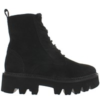 Jeffrey Campbell Agira - Black Oiled Suede Chunky Lug Platform Combat Boot