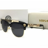 Versace Fashion Cool Unisex Summer Sun Shades Eyeglasses Glasses Sunglasses(2-Color) Black I