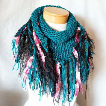 Teal fringe  scarf Triangle  Art scarf Knit wrap  Turquoise  cowl neck shawl Chunky knits Festive formal stole