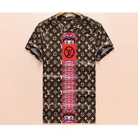 LV Louis Vuitton 2018 summer men and women cotton breathable round neck T-shirt F-A00FS-GJ coffee