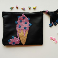 Melting Ice CreamLeather Pouch. Small Leather Clutch. Small Leather Bag. Leather Makeup Bag. Leather Cosmetic Bag. FREE SHİPPİNG