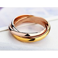 Tricyclic Tricolor Rings Gold Roses Gold Rings Glossy Women 's Ring Titanium Steel Does Not Fade Rings