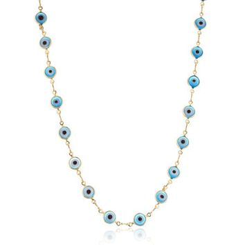 Ladies Gold Overlay with Light Blue Evil Eye 18 Inch Necklace