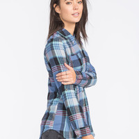Full Tilt Womens Tunic Flannel Shirt Multi  In Sizes